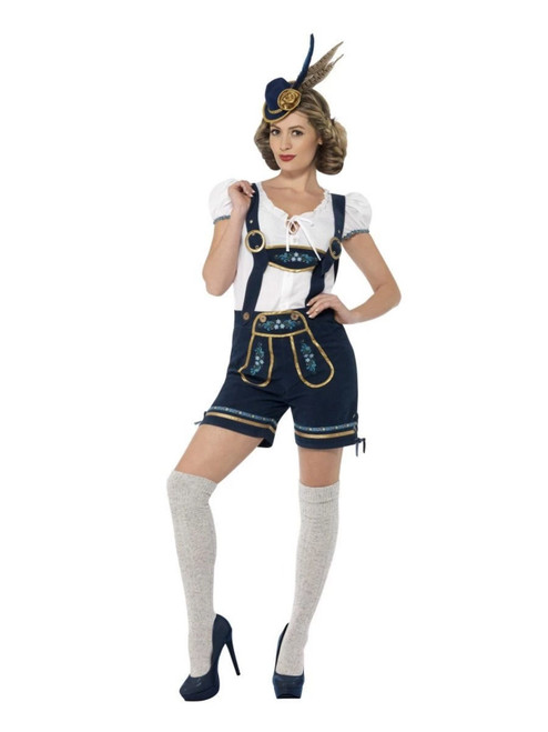 "41"" Navy Blue and White Traditional Bavarian Women Adult Halloween Costume - Medium - IMAGE 1"