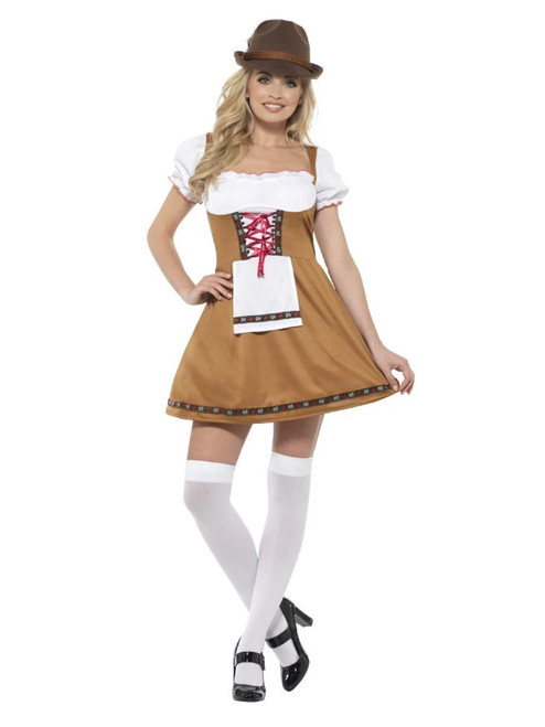 "42"" White and Brown Bavarian Beer Maid Women Adult Halloween Costume - Large - IMAGE 1"