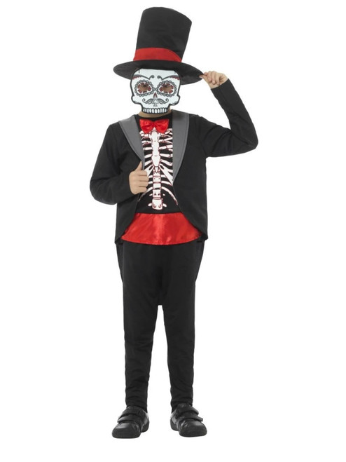 """42.5"""" Black and White Day of the Dead Boy Tween Halloween Costume - IMAGE 1"""