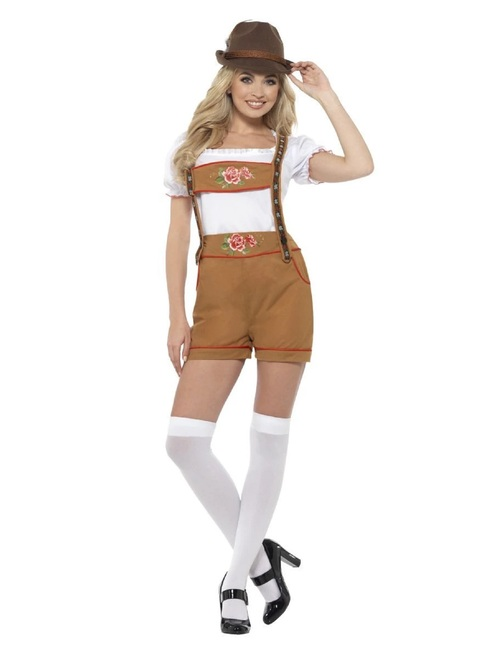 "42"" Brown Bavarian Beer Girl Women Adult Halloween Costume - Large - IMAGE 1"