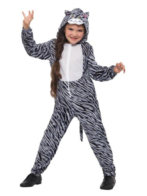 Gray and White Tabby Cat Unisex Child Halloween Costume - Large - IMAGE 1