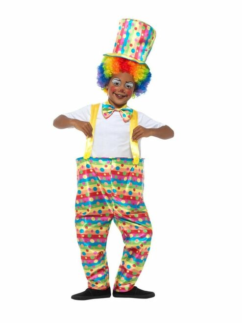 """43"""" White and Yellow Clown Boy Child Halloween Costume - Large - IMAGE 1"""