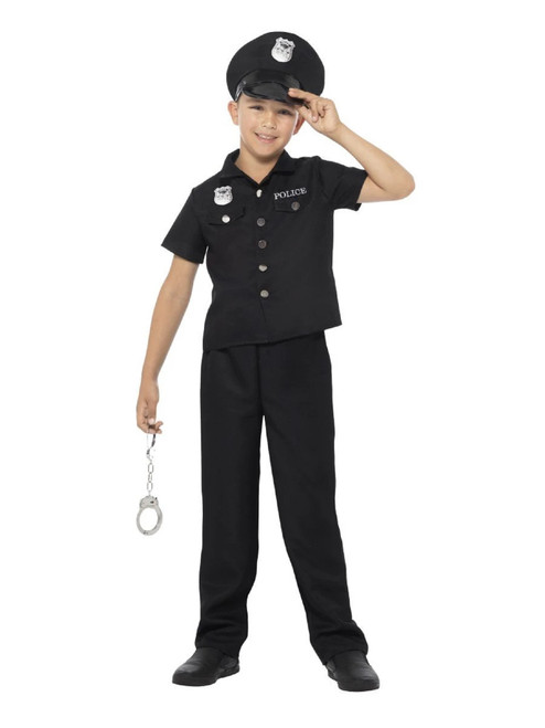"""47.5"""" Black and White New York Cop Boy Child Halloween Costume - Small - IMAGE 1"""