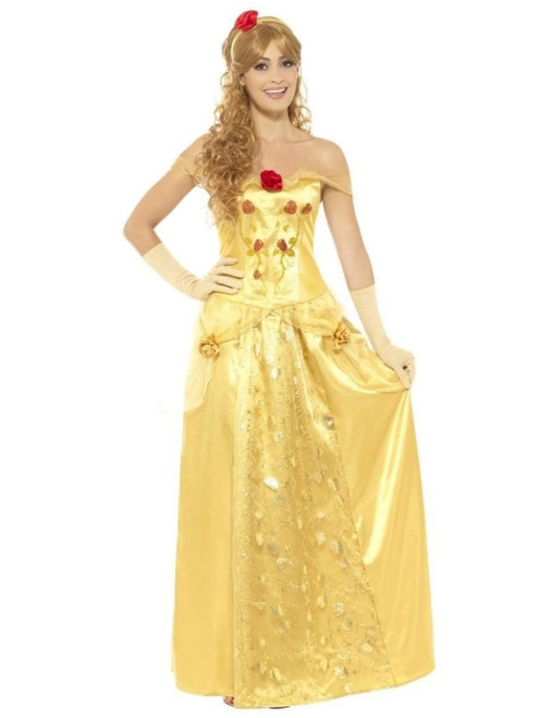 "40"" Gold and Red Princess Women Adult Halloween Costume - Medium - IMAGE 1"