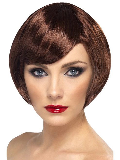 """26"""" Brown Short Bob with Fringe Women Adult Halloween Babe Wig Costume Accessory - One Size - IMAGE 1"""