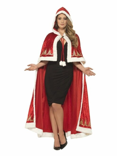 """41"""" Red and White Miss Claus Women Adult Christmas Cape Costume Accessory - One Size - IMAGE 1"""