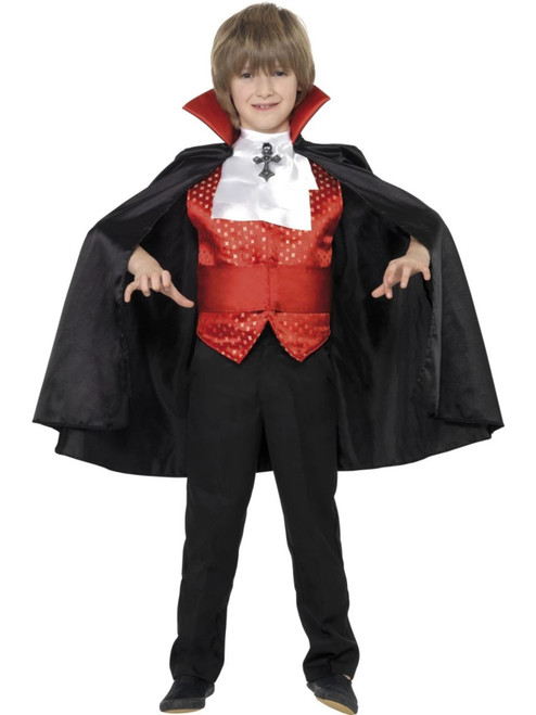 """49"""" Black and Red Dracula Boy Child Halloween Costume - Large - IMAGE 1"""