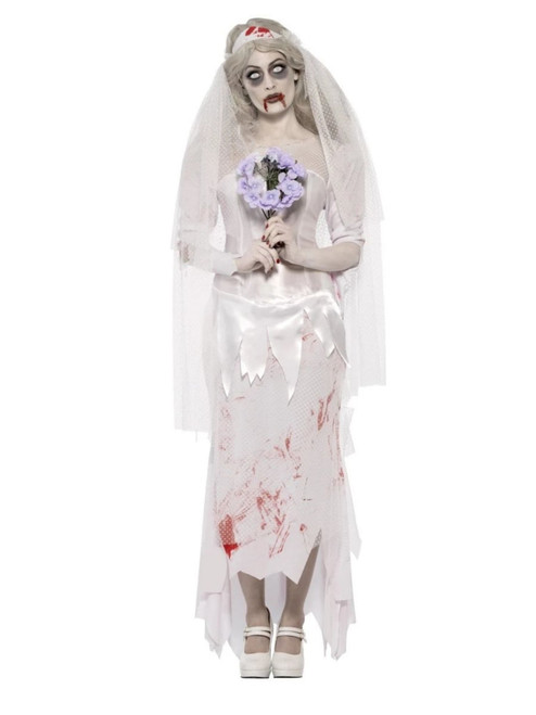 """49"""" White and Red Zombie Bride Women Adult Halloween Costume - Small - IMAGE 1"""