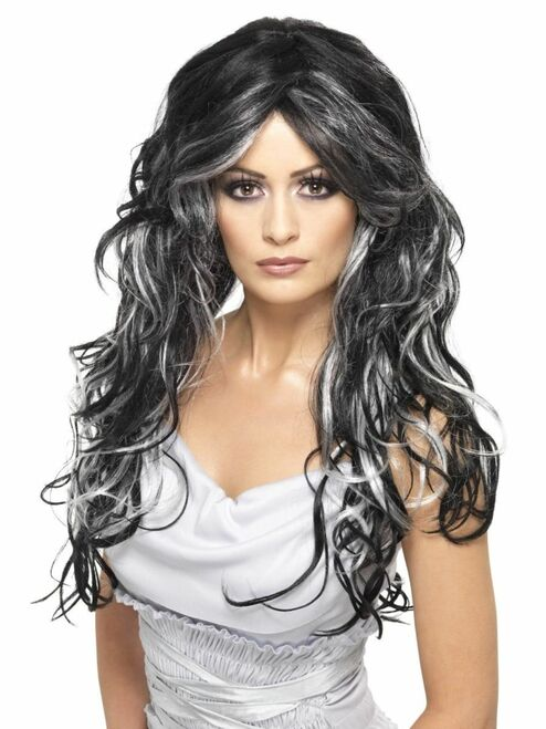 """26"""" Black and White Gothic Bride Women Adult Halloween Women Wig Costume Accessory - One Size - IMAGE 1"""