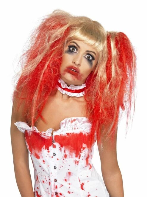 """26"""" Blonde and Red Blood Drip Women Adult Halloween Wig Costume Accessory - One Size - IMAGE 1"""