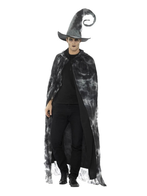 """41"""" Black and Gray Deluxe Spellbound Decayed Unisex Adult Halloween Cape Costume Accessory - One Size - IMAGE 1"""
