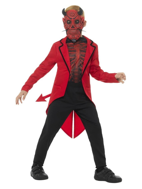 """42.5"""" Red and Black Day of the Dead Devil Boy Child Halloween Costume - Large - IMAGE 1"""