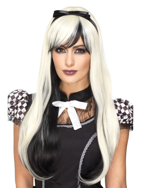 "26"" Blonde and Black Gothic Alice Deluxe Women Adult Halloween Wig Costume Accessory - One Size - IMAGE 1"