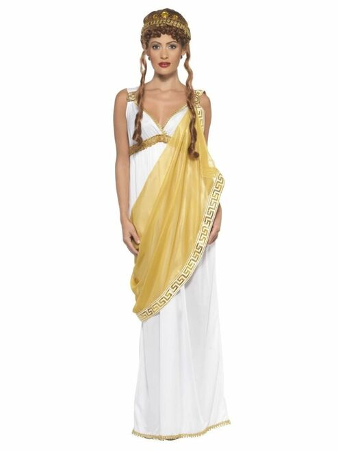 "40"" White and Gold Helen of Troy Women Adult Halloween Costume - Small - IMAGE 1"
