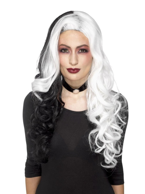 "26"" White and Black Evil Madame Deluxe Women Adult Halloween Wig Costume Accessory - One Size - IMAGE 1"