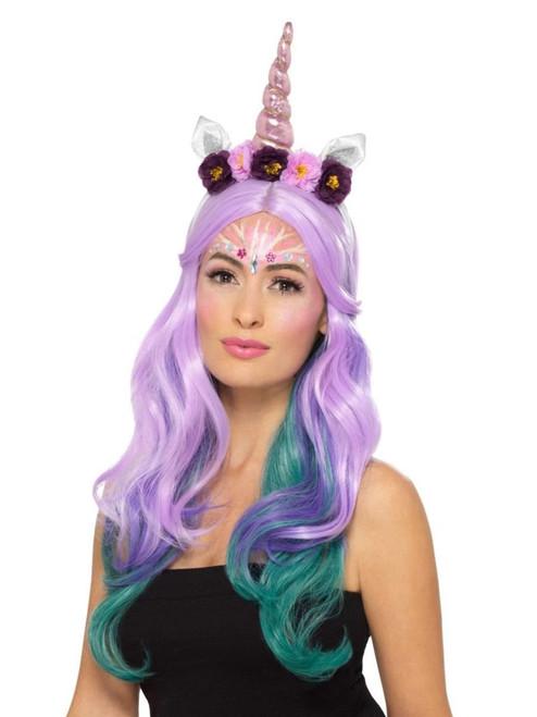 "20"" Pink and White Unicorn Women Adult Halloween Make Up Kit Costume Accessory - IMAGE 1"