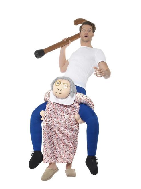 Blue and White Piggyback Grandma Unisex Adult Halloween Costume - IMAGE 1