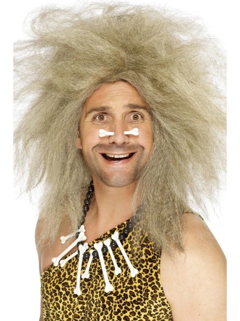 "26"" Blonde Beige Crazy Caveman Men Adult Halloween Wig Costume Accessory - One Size - IMAGE 1"