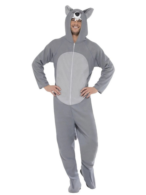 "42"" Gray and White Wolf Unisex Adult Halloween Costume - Large - IMAGE 1"