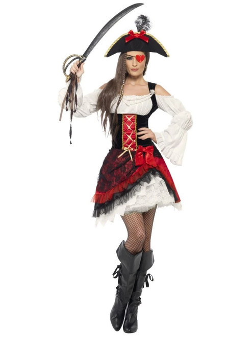 """42"""" Red and White Glamorous Pirate Women Adult Halloween Costume - Large - IMAGE 1"""