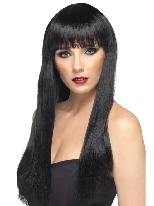 """26"""" Black Beauty Straight Long Hair Women Adult Halloween Wig Costume Accessory - One Size - IMAGE 1"""