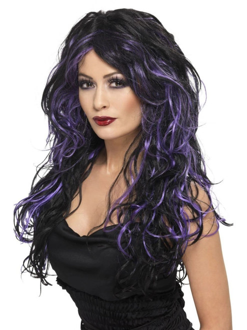 """26"""" Purple and Black Gothic Bride Wig Women Adult Halloween Costume Accessory - One Size - IMAGE 1"""