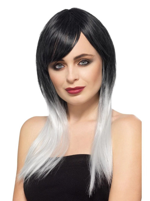 """26"""" Black and Gray Deluxe Ombre Women Adult Halloween Wig Costume Accessory - One Size - IMAGE 1"""