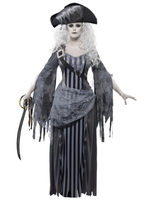 """49"""" Gray and Black Ghost Ship Princess Women Adult Halloween Costume - Large - IMAGE 1"""