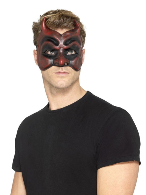 """36"""" Red and Black Masquerade Devil Men Adult Halloween Mask Costume Accessory - One Size - IMAGE 1"""
