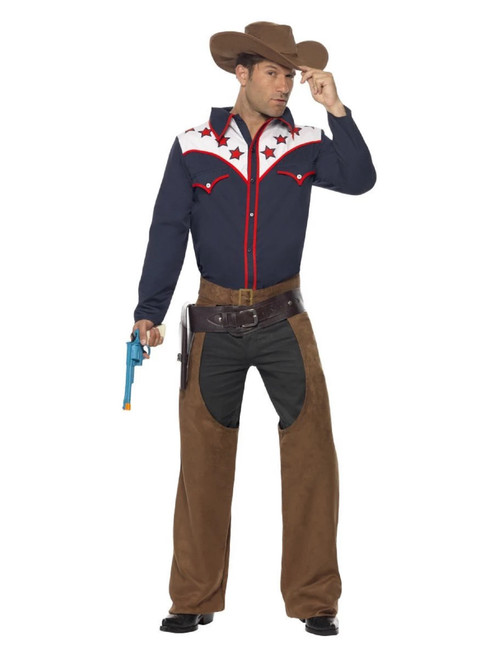 """42"""" Brown and Navy Blue Rodeo Cowboy Men Adult Halloween Costume - Large - IMAGE 1"""