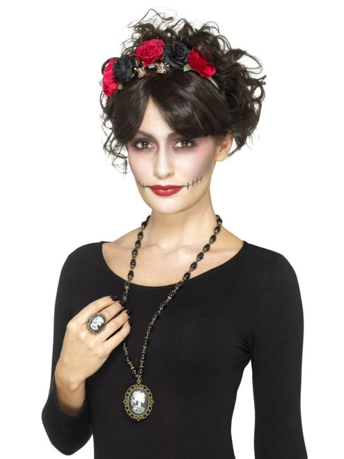 """19"""" Black and White Day of the Dead Skeleton Women Adult Halloween Wig Costume Accessory - One Size - IMAGE 1"""