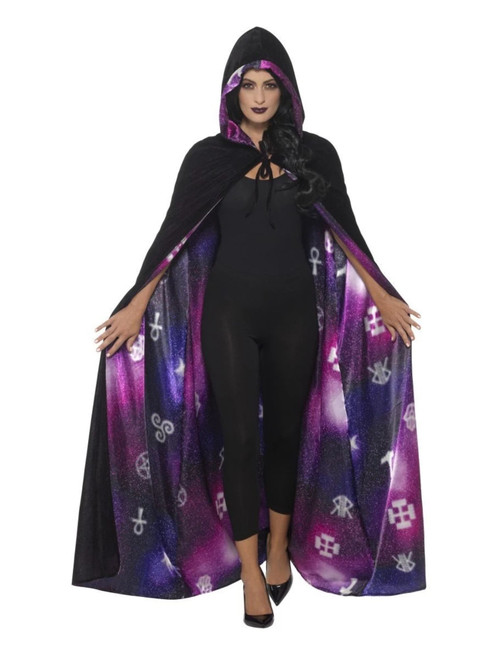 """41"""" Black and Purple Deluxe Reversible Galaxy Ouija Women Adult Halloween Cape Costume Accessory - One Size - IMAGE 1"""