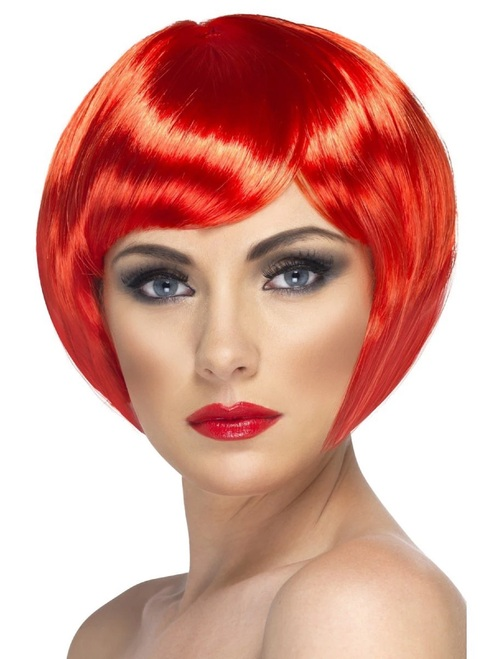 """26"""" Red Short Bob with Fringe Women Adult Halloween Babe Wig Costume Accessory - One Size - IMAGE 1"""