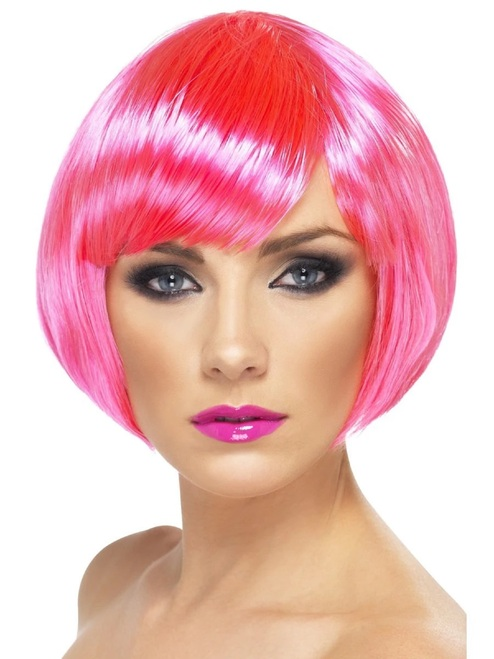 "26"" Neon Pink Short Bob with Fringe Women Adult Halloween Babe Wig Costume Accessory - One Size - IMAGE 1"