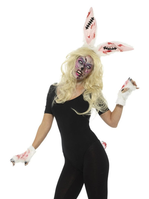 """30"""" Gray and Red Zombie Bunny Women Adult Halloween Kit Costume Accessory - One Size - IMAGE 1"""