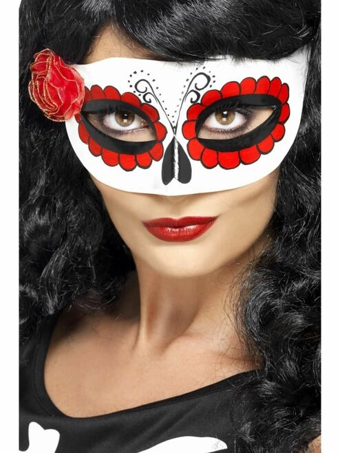 """18"""" White and Red Mexican Day of Dead Eye Mask Women Adult Halloween Costume Accessory - One Size - IMAGE 1"""