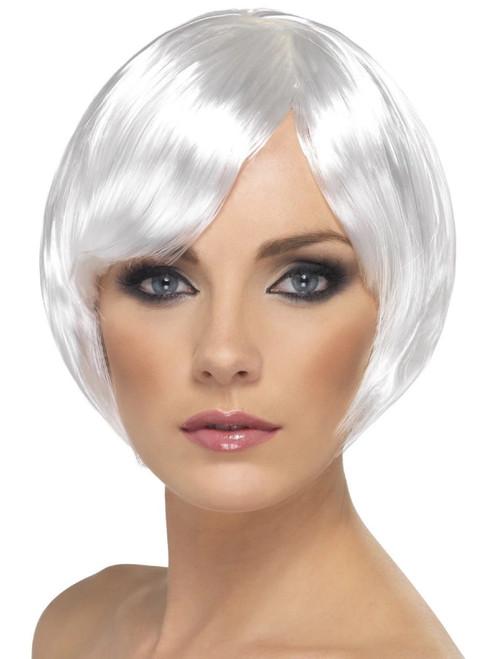 """26"""" White Short Bob with Fringe Women Adult Halloween Babe Wig Costume Accessory - One Size - IMAGE 1"""