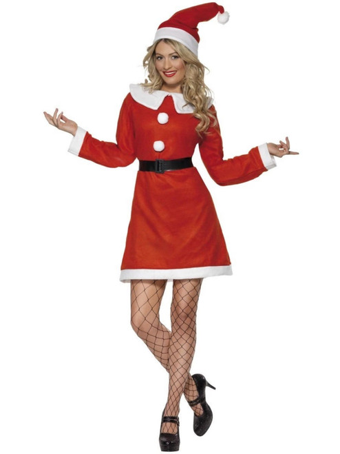 """44"""" Red and White Miss Santa Women Adult Christmas Costume - Large - IMAGE 1"""