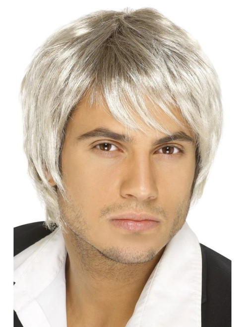 """26"""" Blonde Ivory and Brown 1990's Style Boy Band Men Adult Halloween Wig Costume Accessory - One Size - IMAGE 1"""