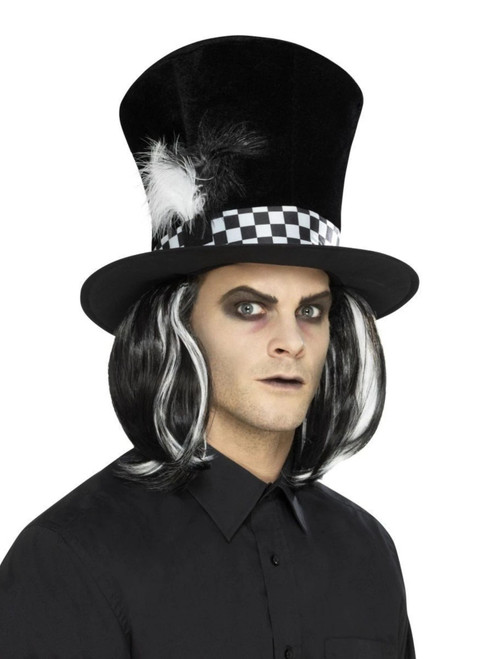 """36"""" Black and White Dark Tea Party Top Unisex Adult Halloween Hat Costume Accessory - One Size - IMAGE 1"""