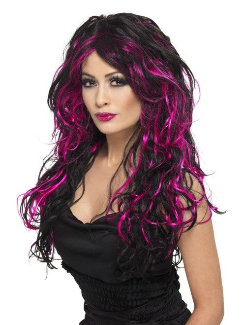 """26"""" Pink and Black Gothic Bride Women Adult Halloween Wig Costume Accessory - One Size - IMAGE 1"""