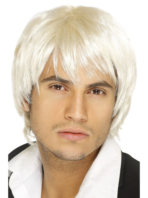 """26"""" Pale Yellow 1990's Style Boy Band Men Adult Halloween Wig Costume Accessory - One Size - IMAGE 1"""