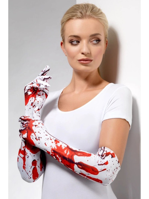 """17.5"""" White and Red Blood Splatter Women Adult Halloween Long Gloves Costume Accessory - One Size - IMAGE 1"""
