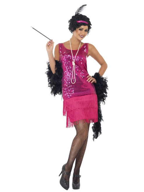 """49"""" Pink and Black Funtime Flapper Women Adult Halloween Costume - Large - IMAGE 1"""