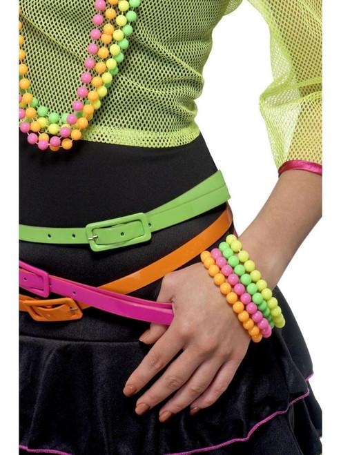 "14.5"" Neon Green and Orange 1980's Style Beaded Unisex Adult Halloween Bracelets Costume Accessory - One Size - IMAGE 1"