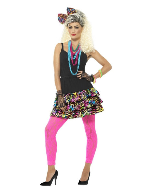 """40"""" Pink and Blue 1980's Style Party Girl Women Adult Halloween Costume - Medium - IMAGE 1"""