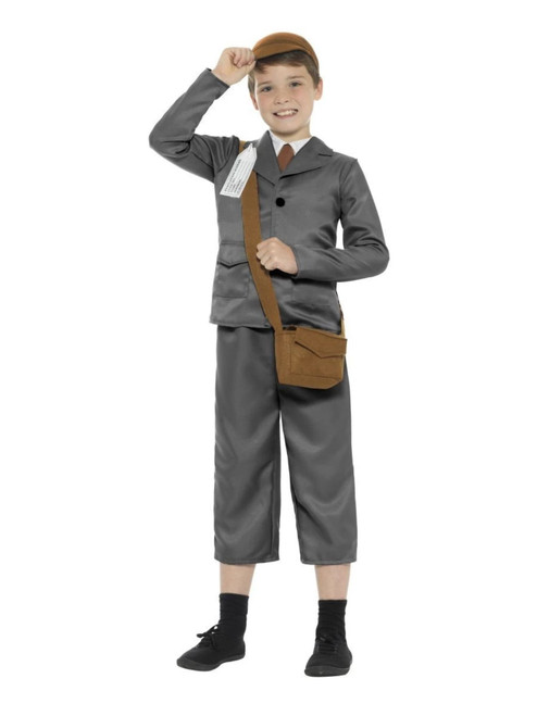 "41"" Gray and Brown WW2 Evacuee Boy Tween Halloween Costume - XL - IMAGE 1"
