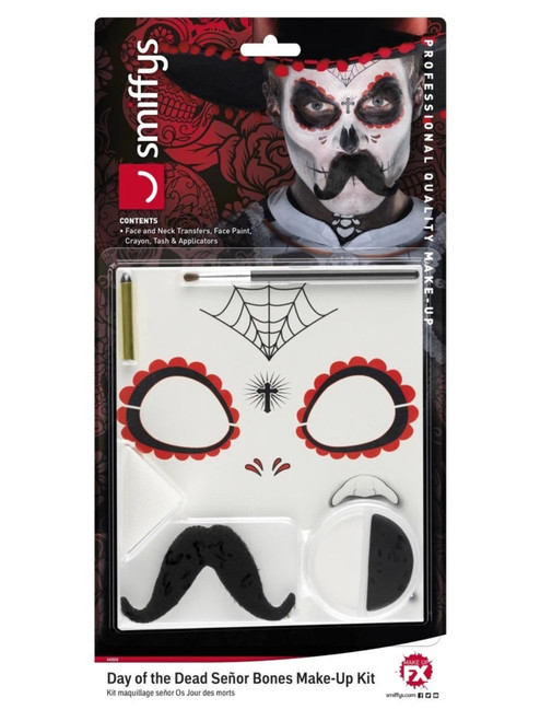 """39"""" Black and White Day of the Dead Senor Bones Unisex Adult Halloween Makeup Kit Costume Accessory - IMAGE 1"""