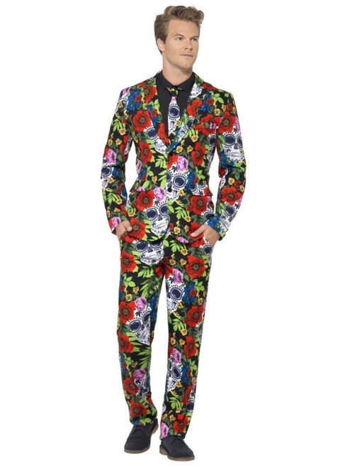 """38.5"""" Red and Green Day of the Dead Suit Men Adult Halloween Costume - Medium - IMAGE 1"""