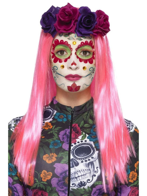 """39"""" Pink and White Day of the Dead Sweetheart Women Adult Halloween Make-Up Kit Costume Accessory - IMAGE 1"""